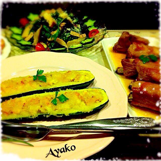 ズッキーニのファルシ、スペアリブのママレード煮、きのことベビーリーフのイタリアンサラダ by 亜矢子 at 2014-06-14