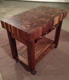 Beautiful Black Walnut End Grain Butcher Block Kitchen Cart, wood counter top or cutting board idea
