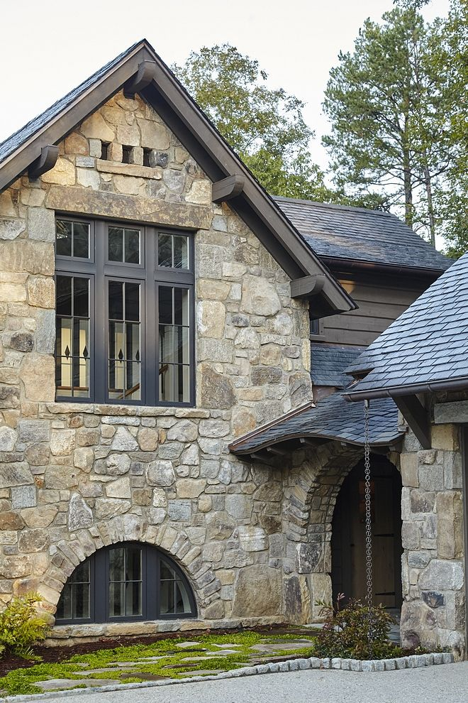 Stone Exterior With Slate Roof And Black Windows Exterior Stone Is