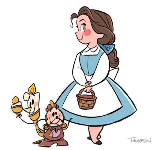 Belle, Cogsworth and Lumiere by Steve Thompson - Beauty and the Beast