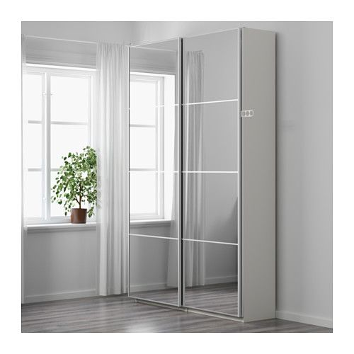 PAX Wardrobe, white, Auli mirror glass 59x17 3/8x93 1/8