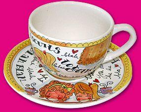 Opdracht: kopje en schotel ( papier maché ) versierd in de stijl van Burton Morris