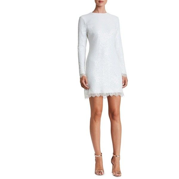 Dress The Population Women's Kate Lace Trimmed Sequin Dress ($210) ❤ liked on Polyvore featuring dresses, white, sequined dresses, white stretch dress, long sleeve sequin dress, white scalloped dress and long sleeve cocktail dresses