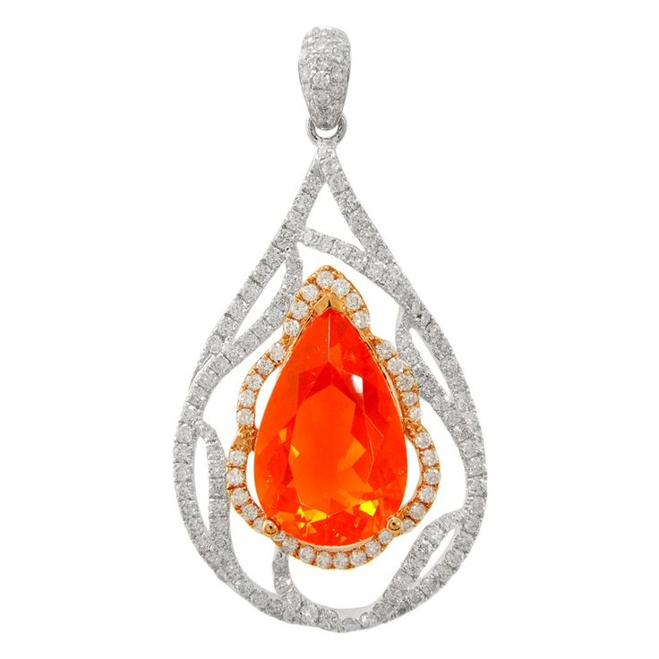 18K White/Yellow Gold, 3.46CTW Fire Opal, 0.97CTW VS2-SI1 G Diamond Pendant by Yael Jewelry (Video at www.gemcollection.com)