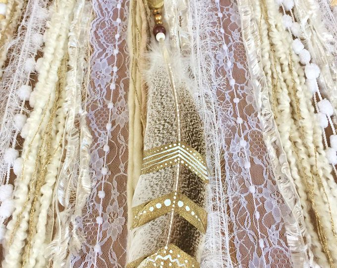Beautiful Boho Golden Dreamcatcher, Gift , wall hanging .