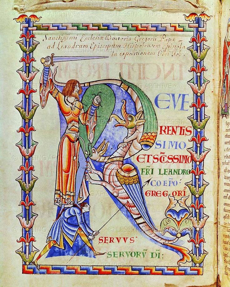 Saint Gregory,Moralia in Job, Abbey of Citeaux, France, early 12th. MS 168, fol.4 verso: A knight killing a dragon