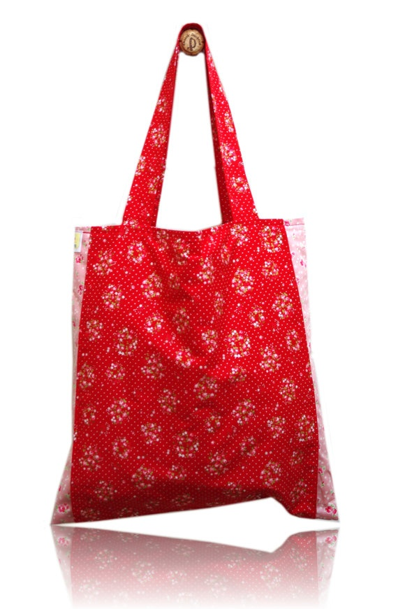 Sweet Red and Pink Lined Tote Bag via Etsy