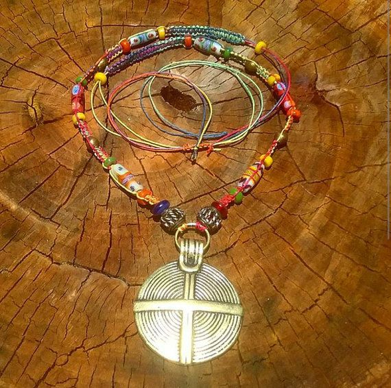 Macrame hemp thread beaded necklace with a by AngelsJewelleryOz