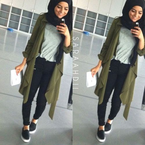 smart casual hijab outfit- olive jacket- Eid hijab ready to wear http://www.justtrendygirls.com/eid-hijab-ready-to-wear/