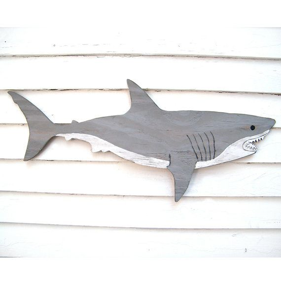 Wooden Shark Great White Large Sign Wall Art by SlippinSouthern