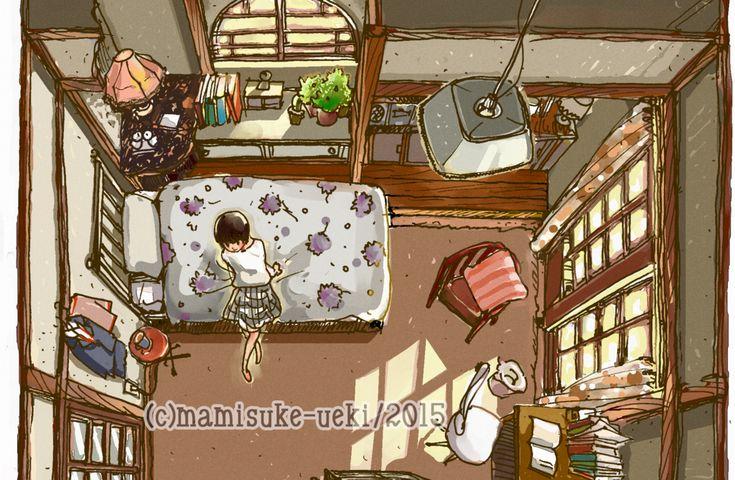 先日シネマORERA!!という対談企画で「好きな映画」を語らせていただきました。イラストも出血大サービスで描きまくりでした。いかがでしたでしょうか? シネマORERA(前篇)はこちら 筆者が好きな映画として「大林宣彦版『時をかける少女』」を推薦するに当たって描いた、主人公芳山さん(原田知世)の部屋の鳥瞰図なんですが 全くもって語り足りなかったので、今日はシネマORERA出張版イラストエッセイですよー! 時をかける少女 - Wikipedia