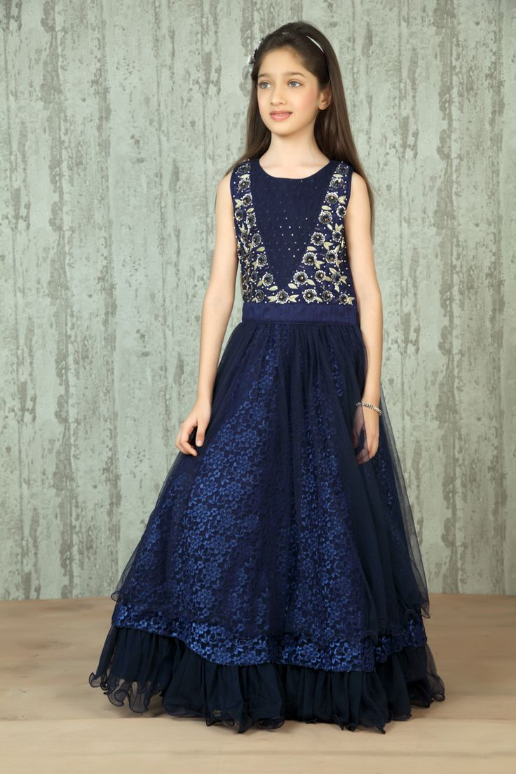 Blue Net Floor Length Gown @ Looksgud.in