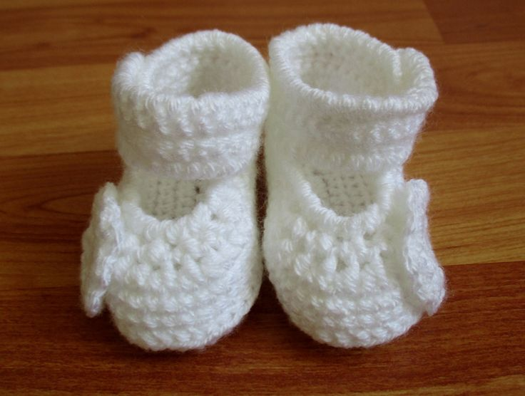 White Crochet Baby Girl Booties With Side Straps and Flower Buttons, Christening Booties by ZsuzsaBoutique on Etsy