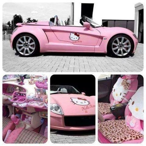 Hello kitty car - oh !  This would so totally be my car! haha