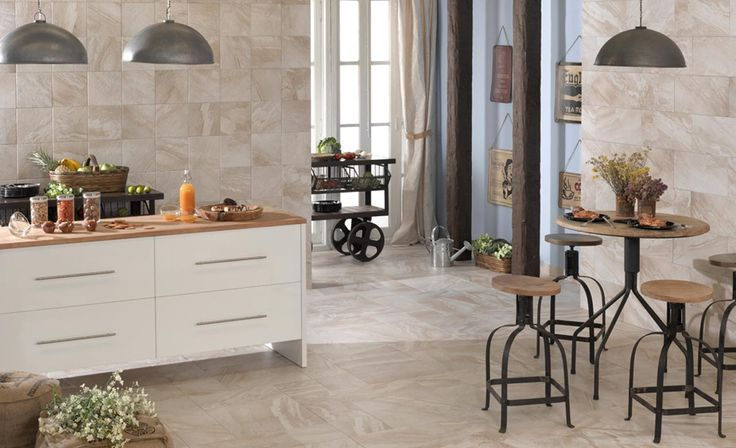 Origin Cream Wall and Floor tiles, used perfectly in a modern city living kitchen.