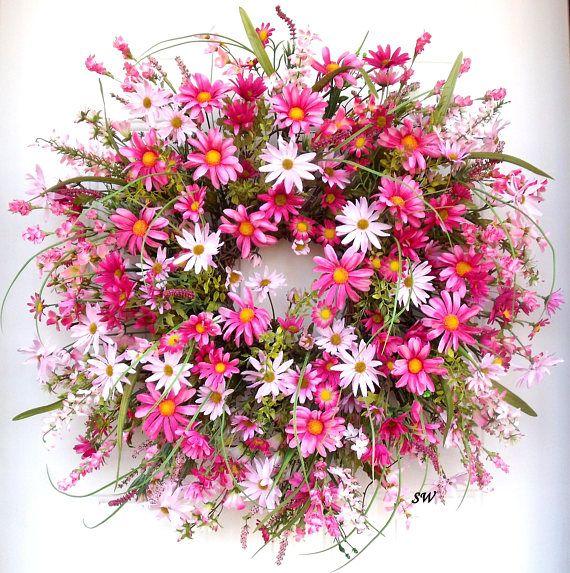 Pink Daisy Wreath Spring Wreath Wispy Wreath Pretty In