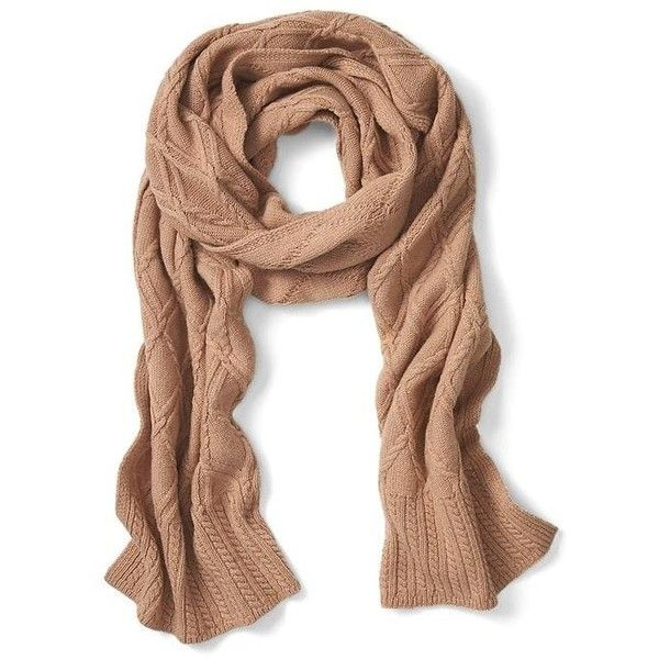 Banana Republic Italian Cashmere Blend All Over Cable Scarf found on Polyvore featuring accessories, scarves, camel, banana republic scarves, cable knit shawl, banana republic and cable knit scarves