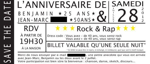 Un anniversaire «Rock vs Rap»  C'est pour organiser les 25 ans de son fils et les 50 ans de son époux que Patricia a fait appel à Marius & Co. en juillet dernier. Notre mission ? Les invitations, la déco, l'animation (Photobooth et Lipdub) ! Découvrez les photos de cette belle soirée « Rock vs Rap » #Invitation #SaveTheDate #Rock