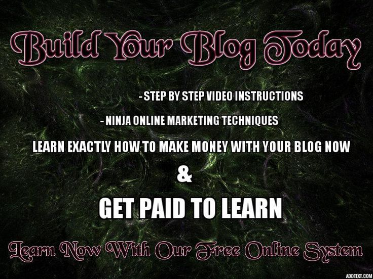 http://learnhowtoearnmoneyonline.gr8.com Are you frustrated learning how to build a blog?  Do you wish you just had a little help? Life is to short to waste all your time making someone else rich, isn't about time you figure out what you love and do your own thing? Let me help you! Check out this amazing new system that pays you to learn the blogging ropes! Don't miss out get your free training today! #paidtoblog #makemoneyathome #learntoblog #makemoneyonline