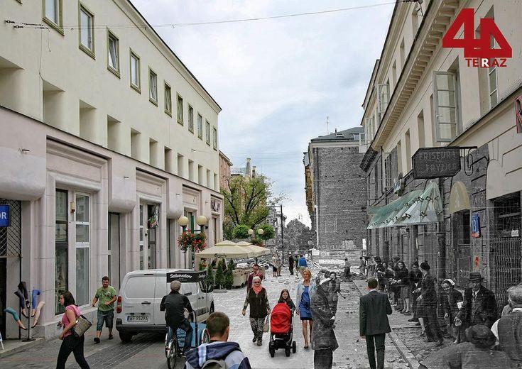 Warszawa z II wojny światowej i współczesna na jednym zdjęciu. Ulicą Chmielną przy Nowym Świecie przechadzają się codziennie dziesiątki warszawiaków. Podczas II wojny światowej słynny deptak był miejscem krwawych walk.