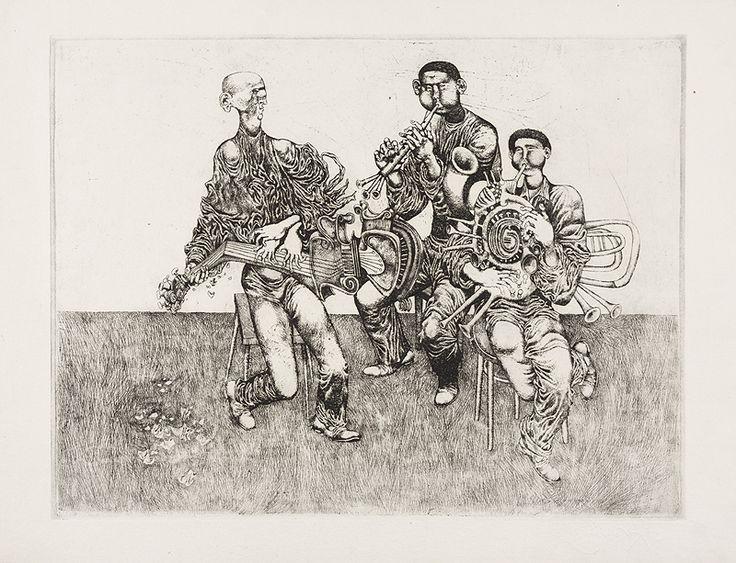 HUDBA, 25x23 cm, lept / MUSIC, etching