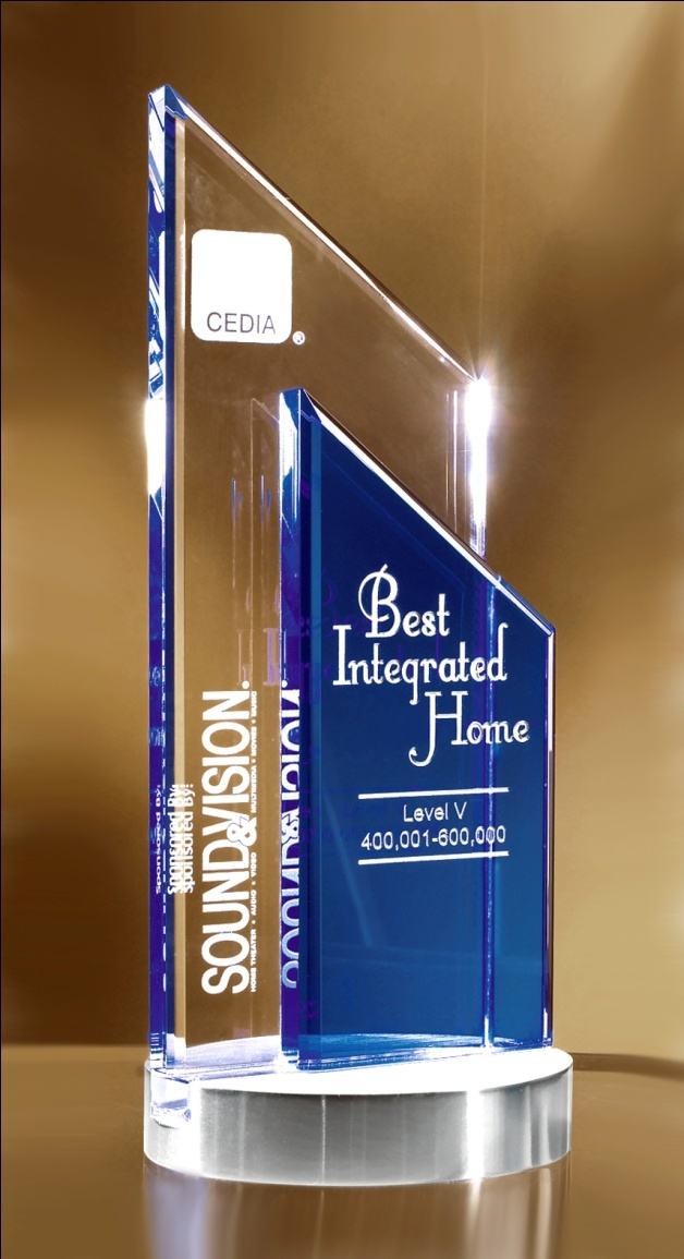 """Glass Peak Duet Award  http://www.edco.com The Glass Peak Duet Award is a fusion of clear and blue optical glass, deep etched with your custom engraving and logo. The award is elevated on a handsome brushed silver base. This crystal award measures 9.5"""" height and lends itself well to corporate recognition events"""