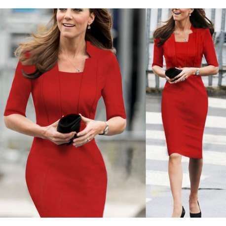 Elegant Red Business Dress Inspired By Duchess Kate  Pencil ...