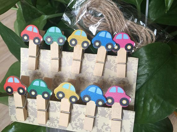 10pieces Car Decorated wooden clips Original Paper Clips