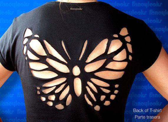 Ähnliche Artikel wie Sexy Schmetterling ausgeschnittenen t-shirt auf Etsy