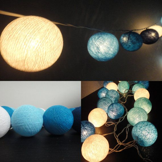 20 Mixed Blue Sky Tone Handmade Cotton Balls Fairy String Lights Party Patio Wedding Floor Table or Hanging Gift Home Decoration