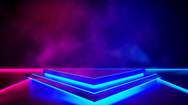 Triangle Stage With Smoke And And Purple Neon Light Abstract
