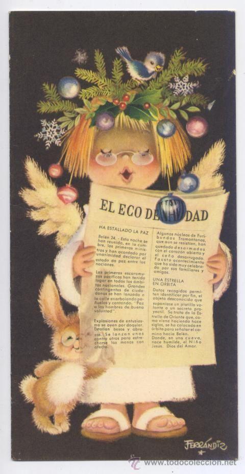 FELICITACION NAVIDAD FERRANDIZ *EL ECO DE NAVIDAD* - 1962 (15 X 7,5 CM) (Postales - Navidad)