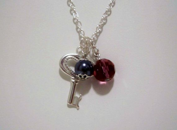 Purple Crystal and Tahitian Blue Pearl Charm Necklace on Etsy, $30.00 CAD