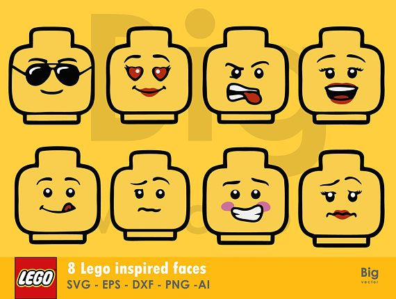 What You Get 1 Zip Files Which Includes 8 Png Files 8 Svg Files 8 Ai Files 8 Dxf Files 8 Eps Files Instant Download You Will Lego Faces Lego T Shirt Big Lego