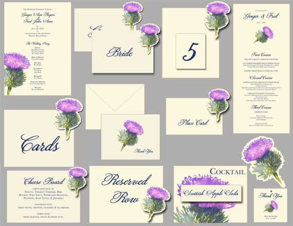 Thistle Purple flower Wedding Paper goods by jenAitchison on Etsy