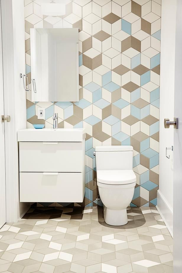 Fun With Geometrics | HGTV >> http://www.hgtv.com/design-blog/design/9-bold-bathroom-tile-designs?soc=pinterest