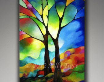 """Abstracte boom op canvas, giclee print op gespannen doek van mijn origineel schilderij twee bomen, 24 x 36"""" gebrandschilderd glas bomen"""
