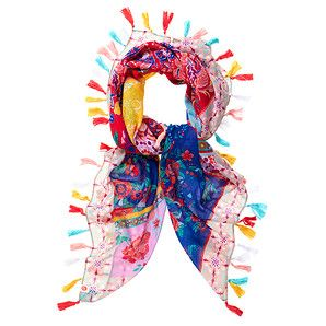 Piping Hot Tassel Trim Print Scarf $25