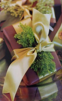Just add a little green Christmas fern in with your bow, very pretty idea.