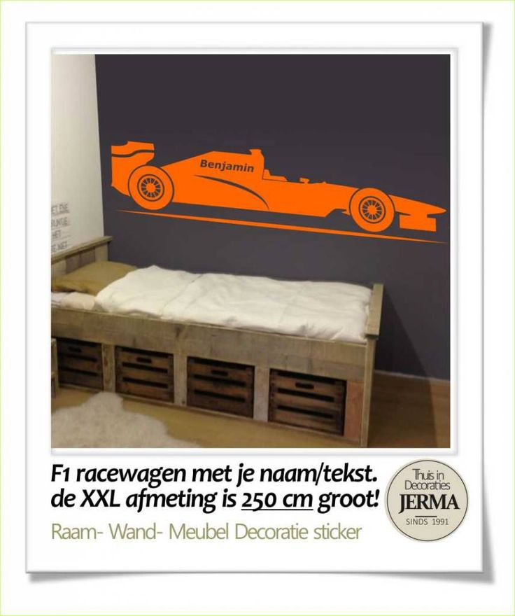 JERMA - Decoratie kinderkamer muursticker, Wandsticker, raamdecoratie, meubeldecoratie sticker F1 Racewagen