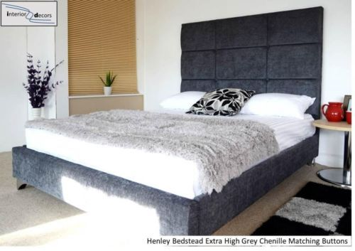 v. cheap beds & headboards from esupasaver on eBay via www.fairlylight.co.uk blog  Henley Extra High Bed Frame Upholstered Chenille All Colours & Sizes Made in UK | eBay