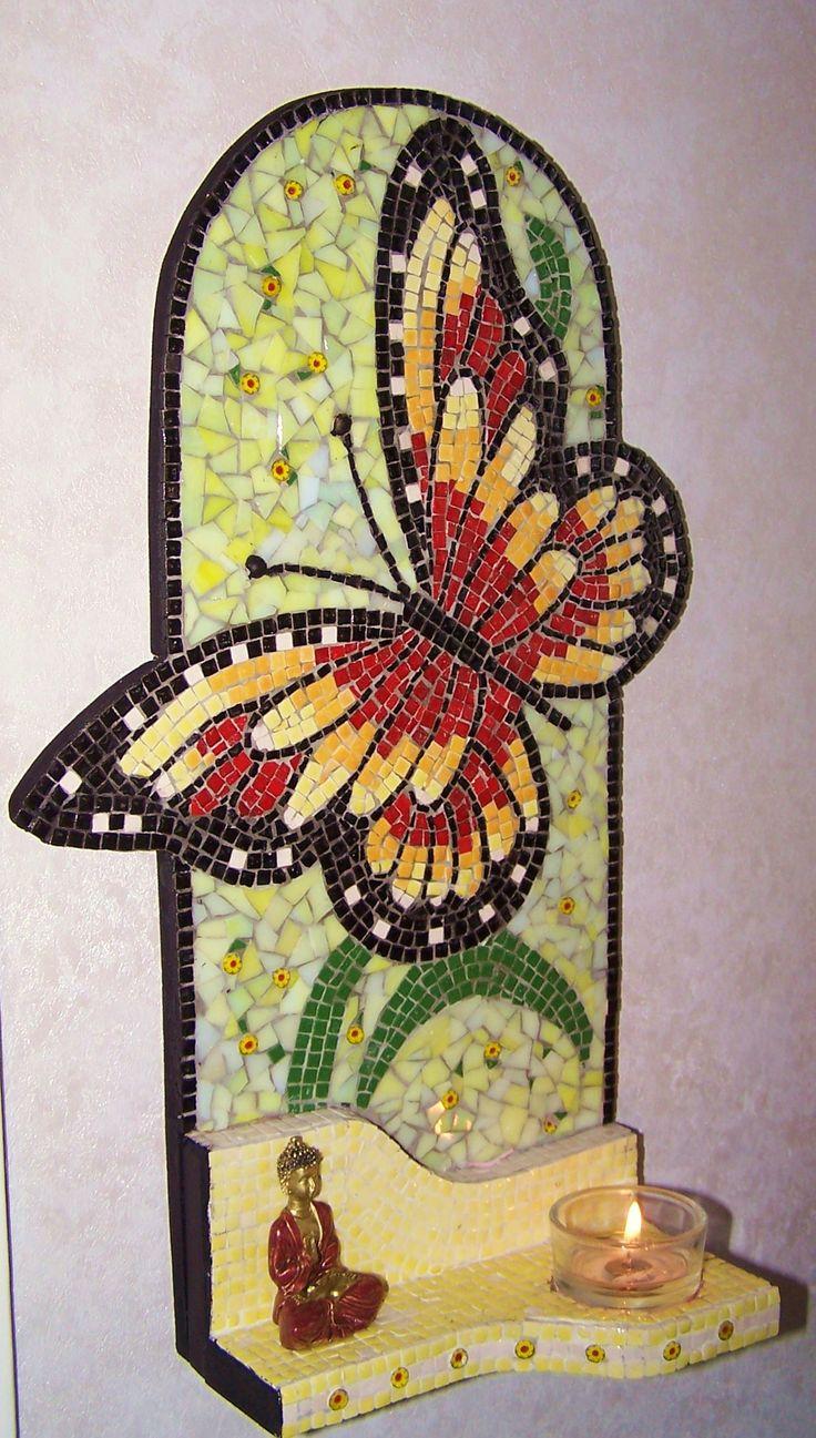 vlinder mozaïek met theelicht