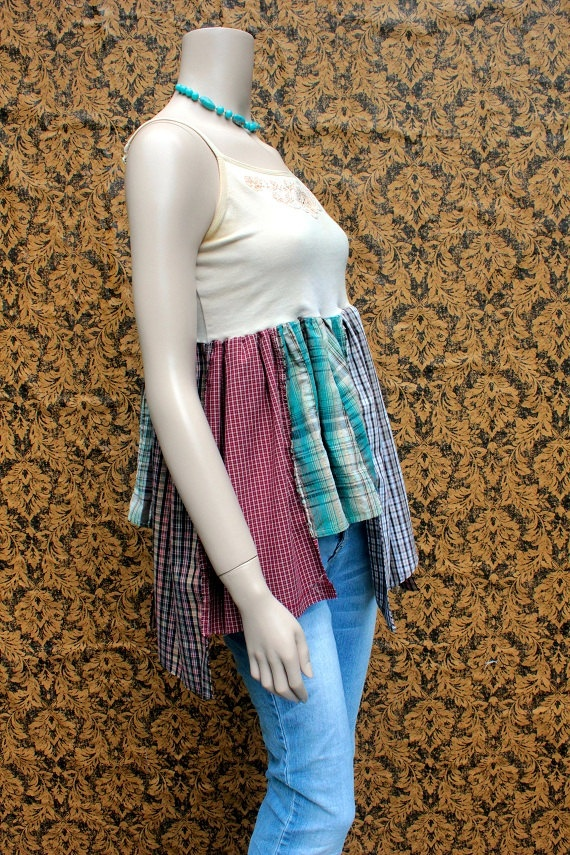 REVIVAL Upcycled Tank Top Shirt Shabby Chic  Farm Girl by REVIVAL, $36.99