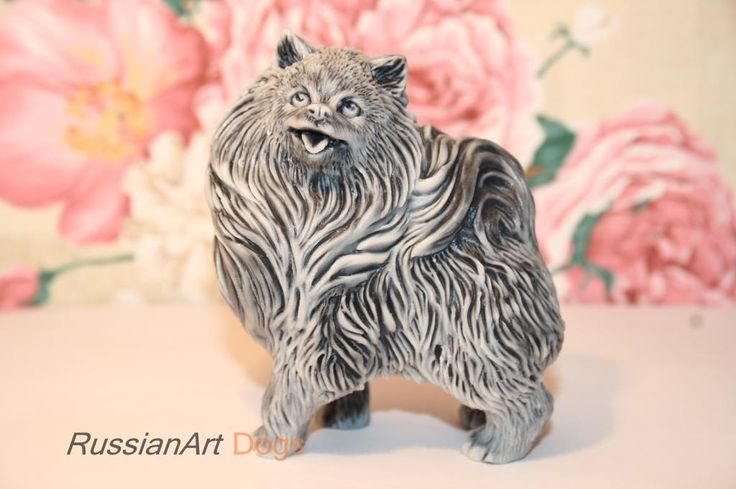 Figurine pomeranian, statuette of the marble chips by RussianArtDogs on Etsy