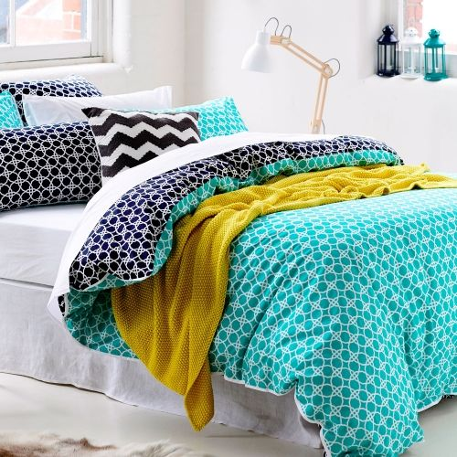 Home Republic Kelsey blue patterned quilt cover also in yellow/grey from http://www.adairs.com.au/bedroom/quilt-covers-&-coverlets/home-republic/kelsey