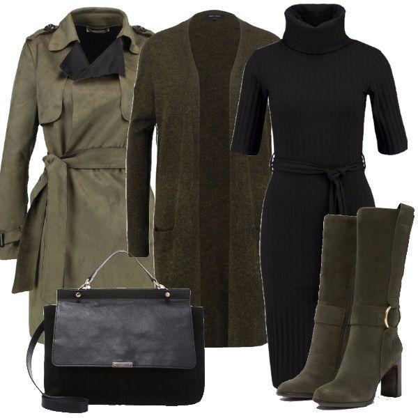Il verde militare è uno dei colori più alla moda in questa stagione. In questo outfit vi propongo un cappottino con cintura, cardigan lungo e stivali verdi abbinati ad una borsa e un vestitino neri.