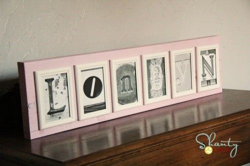 Gift idea- Letter Art Name Sign- painted dollar store frame on 2x4