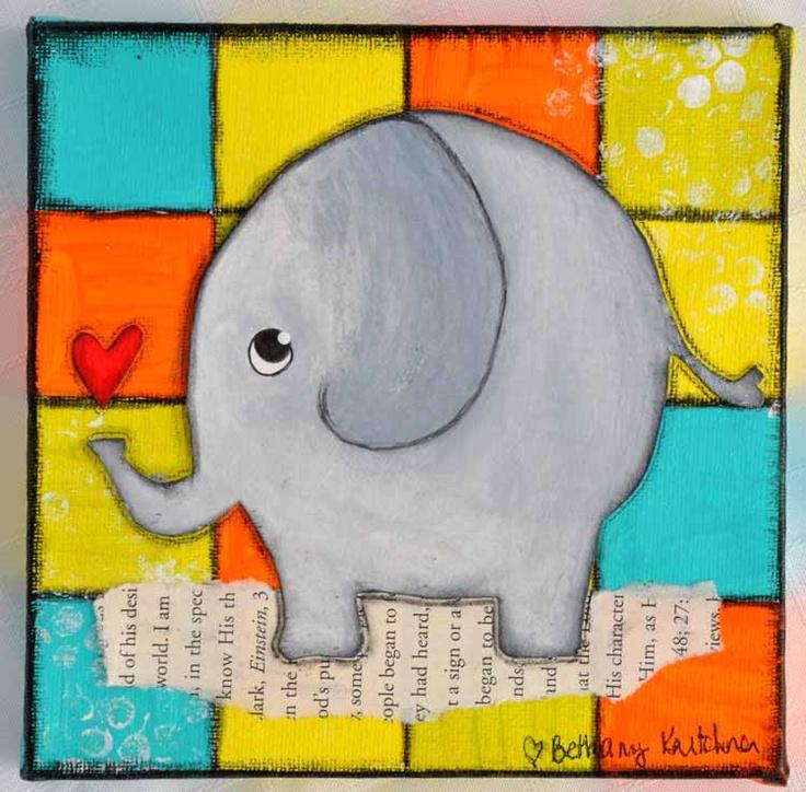 Whimsical Artwork for Children: Baby Elephant Wall-Hanging. $45.00 USD, via Etsy.