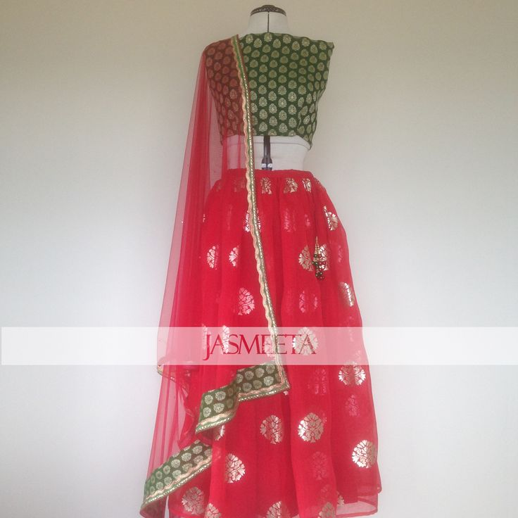 Red and Green Lehenga with block print pattern
