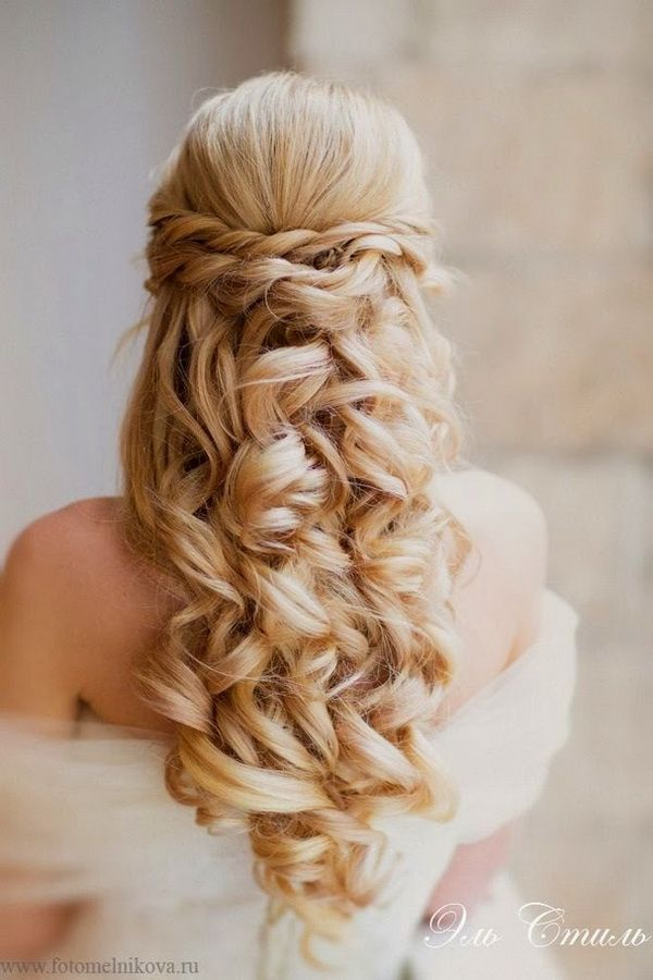 gorgeous curly wedding hairstyle with half up half down style